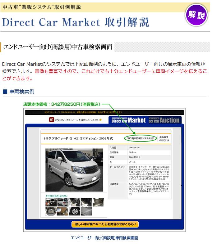 Direct Car Market取引解説 エンドユーザー向け(商談用)中古車検索画面 ■車両検索例